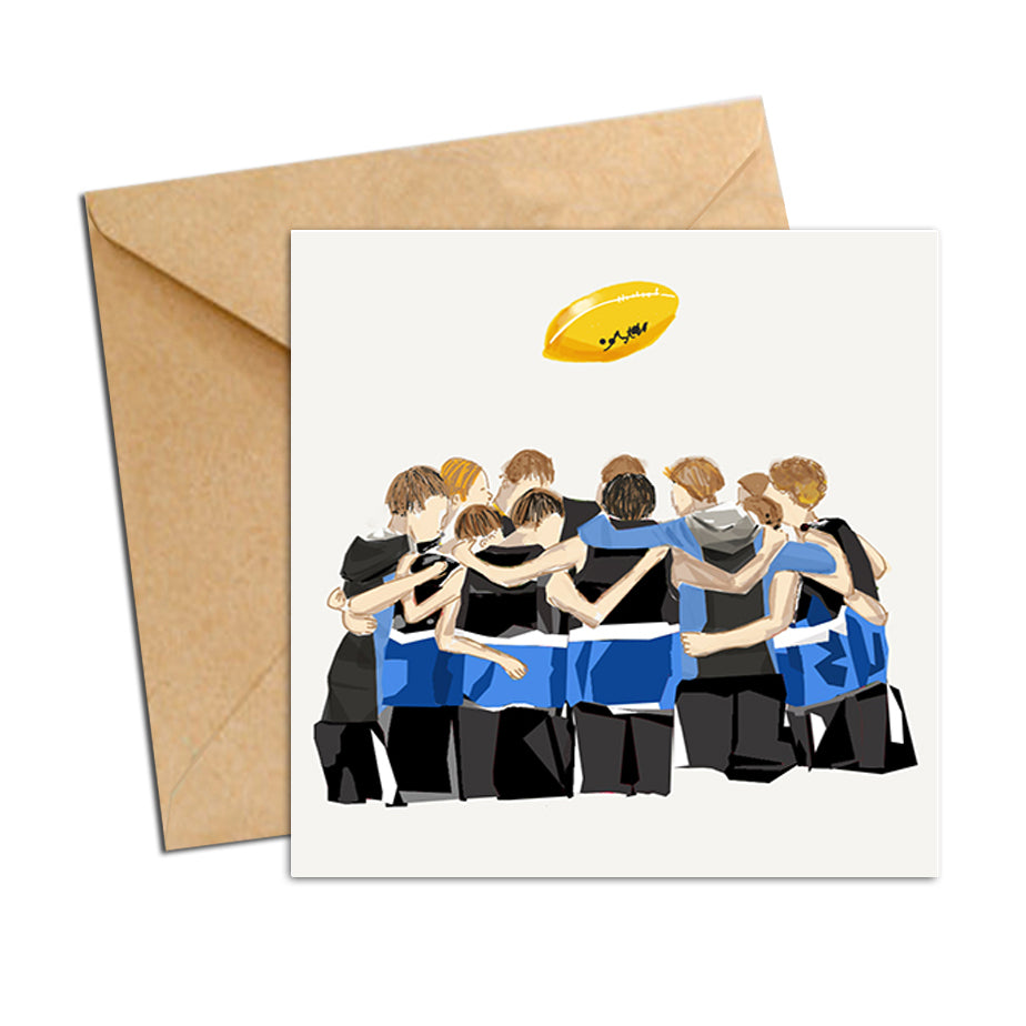 Card - AFL - Football Huddle Blue and Black Boys