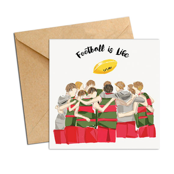 Card - AFL - football huddle Red and Green Boys