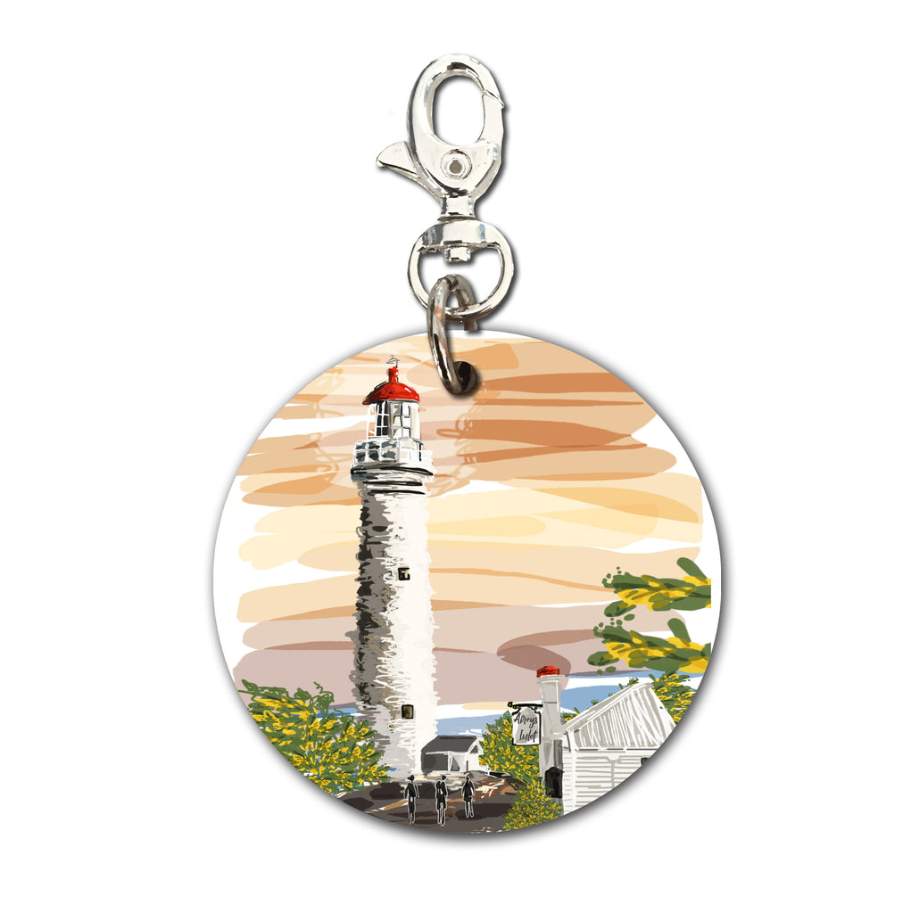Keyring (Circular) - Iconic Bellarine Airey's Inlet Light House at Sunset