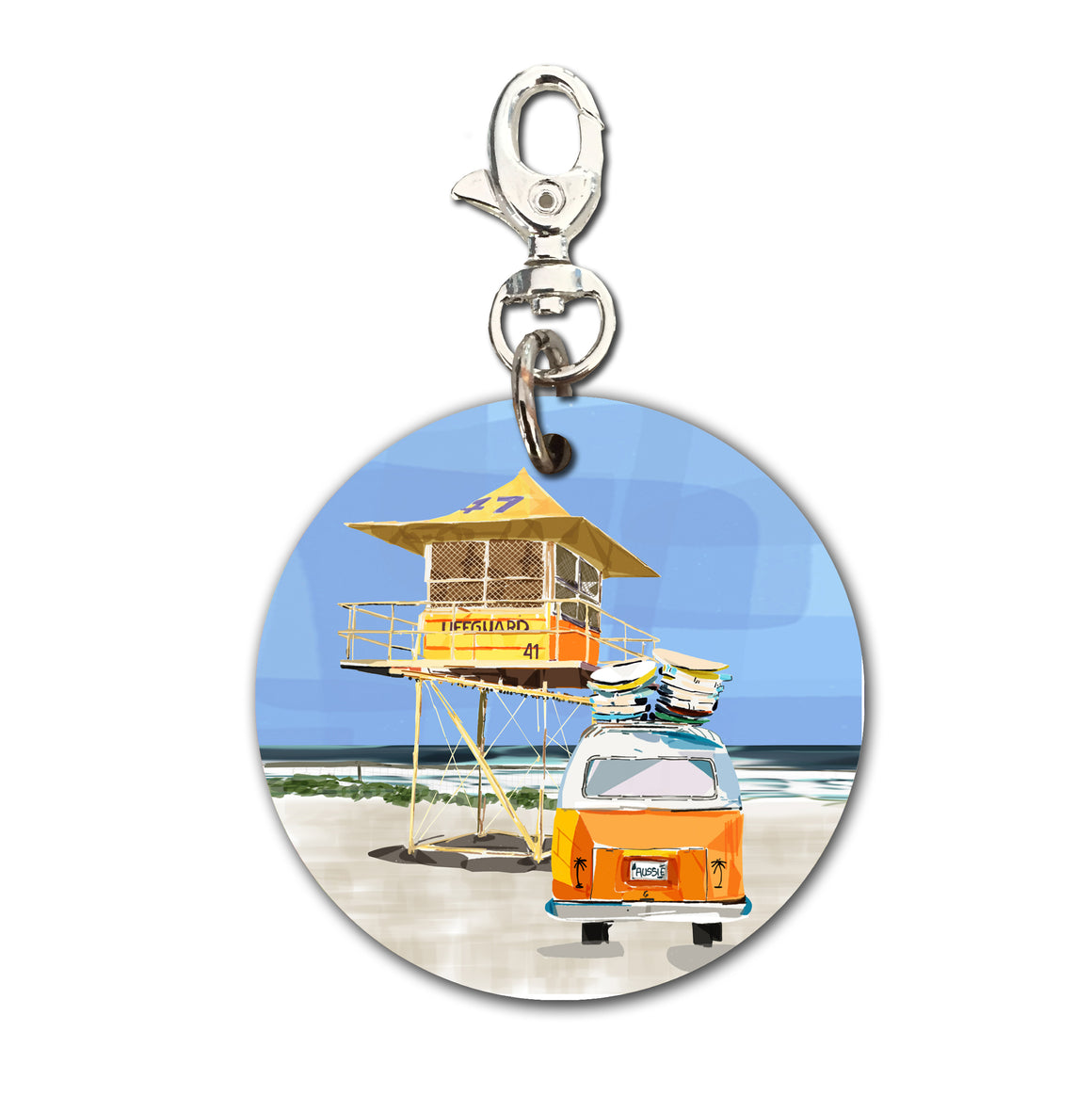 Keyring (Circular) - Iconic Coast Life Saving Tower with Combi