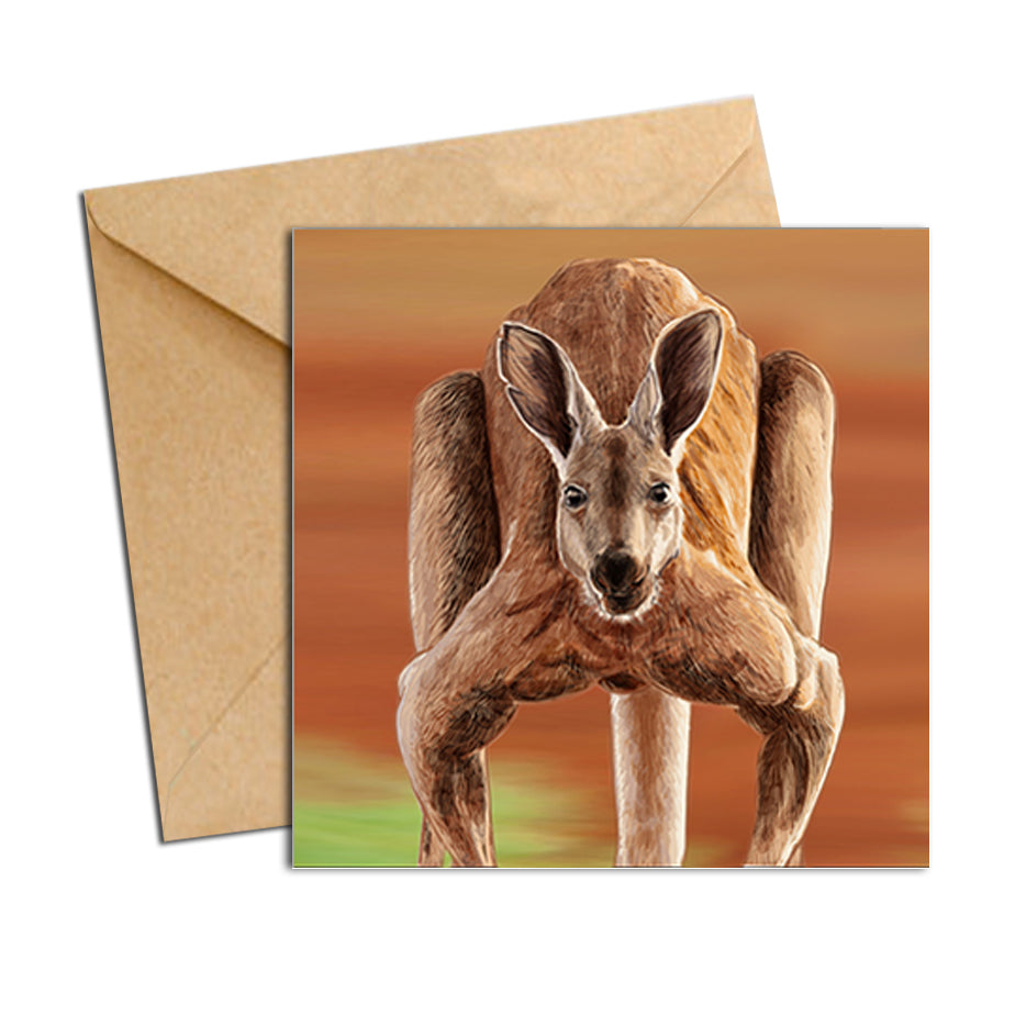 Card - Australian Kangaroo Red