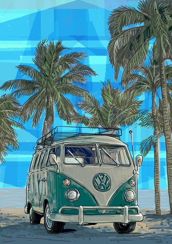 Print  - Kombi Aqua with palm trees