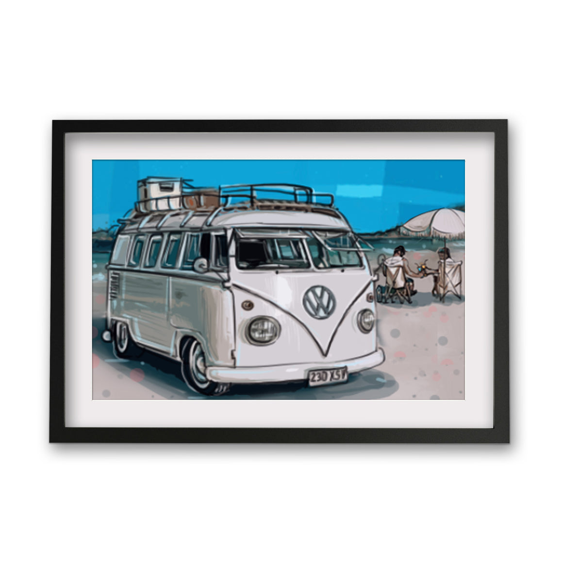 Print  - Kombi white on beach