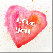 Small Cards (Pack of 10) - Love you Heart Blood Orange