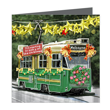Card - Xmas Iconic Melbourne Tram Green