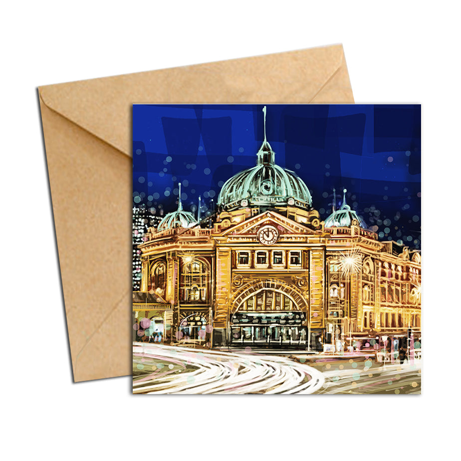 Card - Iconic Melbourne Flinders station front by night