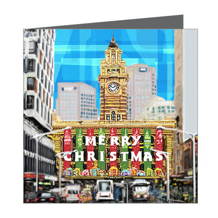 Card - Xmas Iconic Melbourne Flinders Street