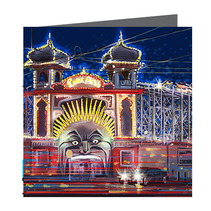 Card - Iconic Melbourne Luna Park by night