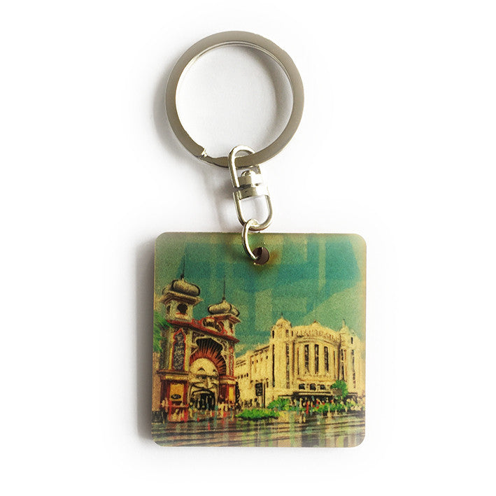 Keyring - Timber keyring with Luna Park and Palais print