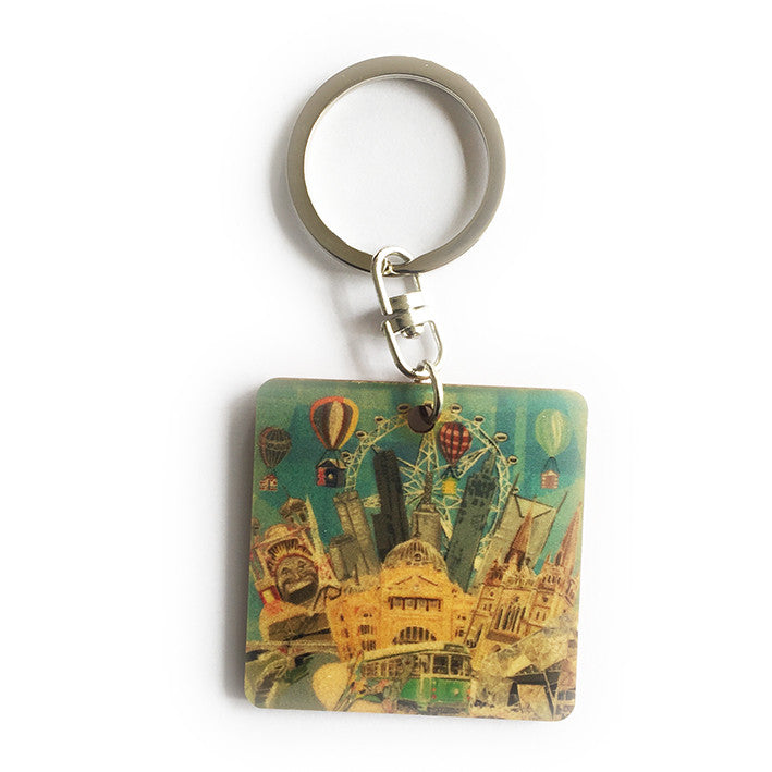 Keyring - Timber keyring with Melbourne Icons print