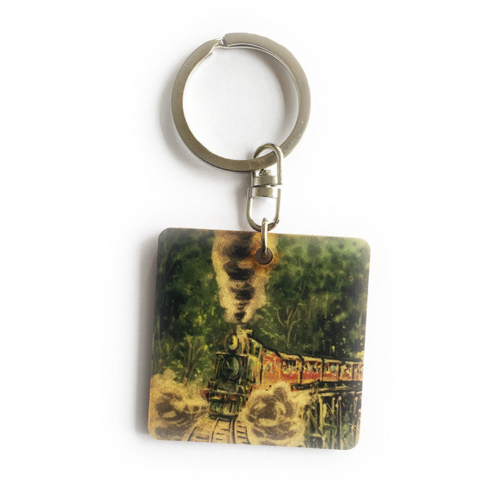 Keyring - Timber keyring with Puffing Billy print