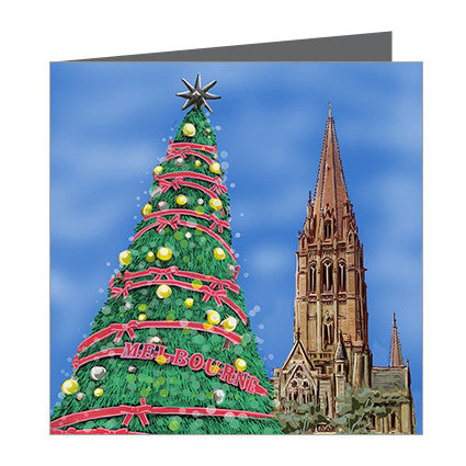 Card - Xmas Iconic Melbourne Tree and St Paul's