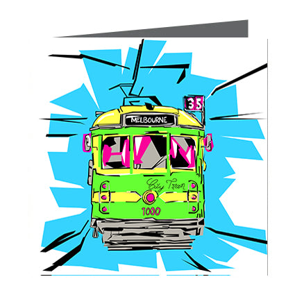 Card - Iconic Melbourne Tram Green Fluro