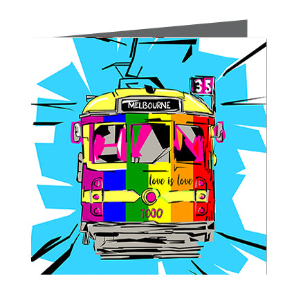 Card - Iconic Melbourne Tram Rainbow