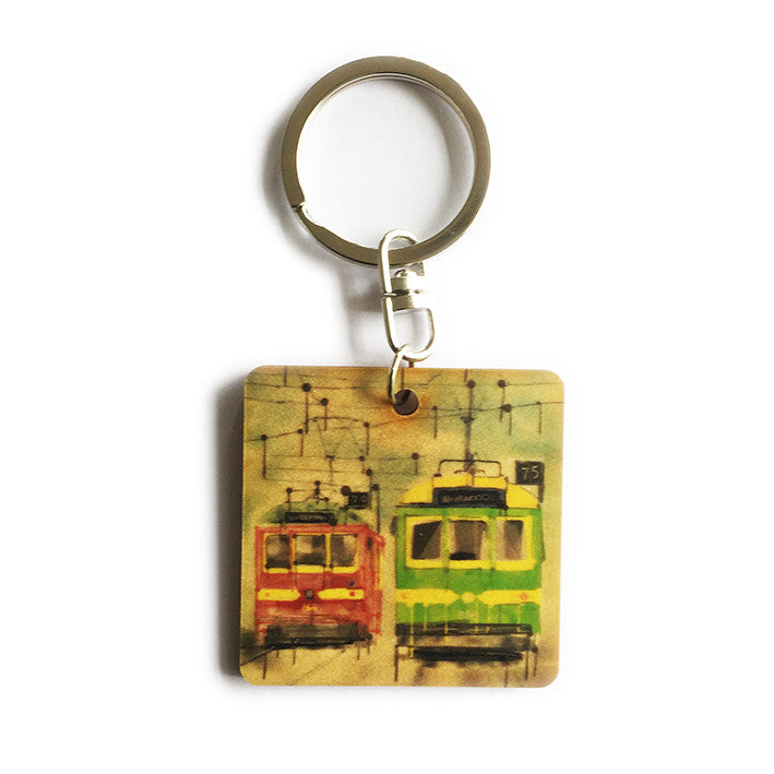 Keyring - Timber keyring with Trams print