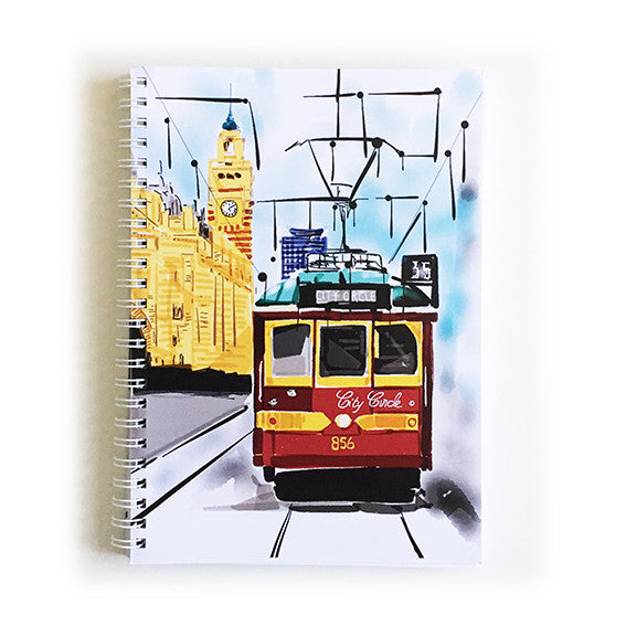 Note Book A5 - Iconic Melbourne Tram at Flinders Street