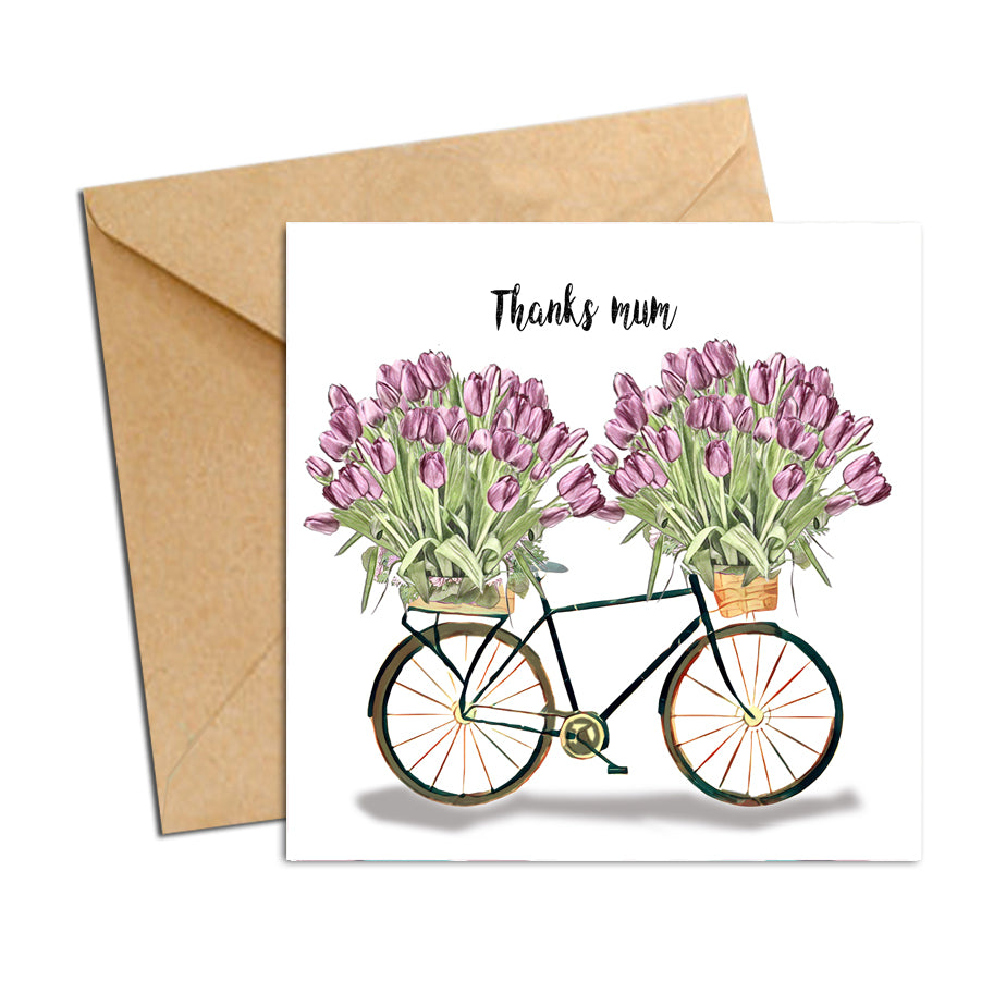 Card - Mum bike with Tulips