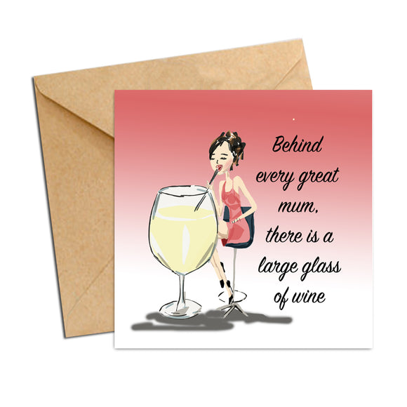 Card - Mum glass of wine
