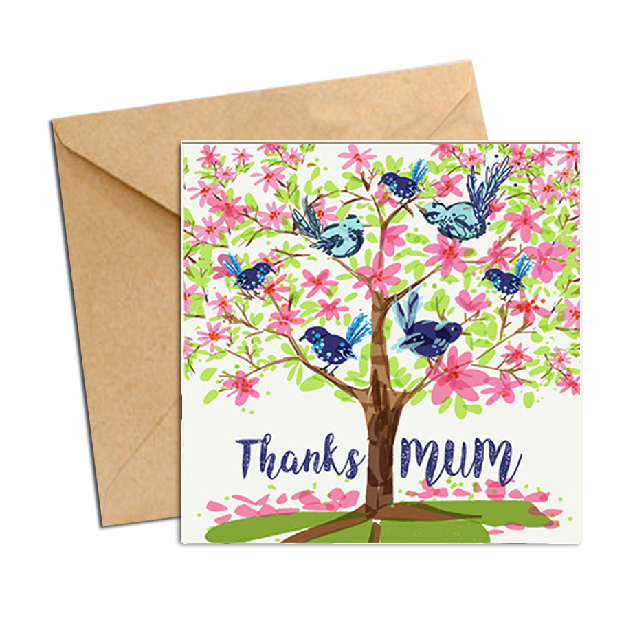 Card - Mum Thanks Tree with Wrens