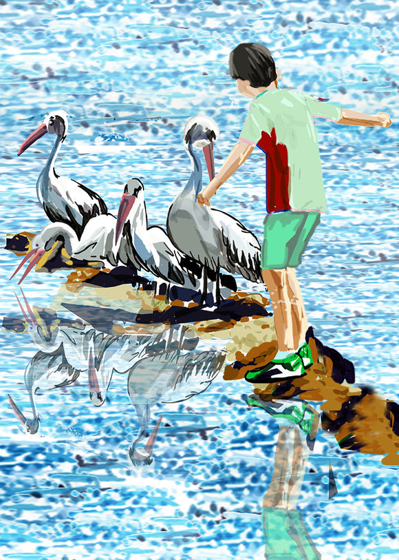 Print (Iconic) - Coastal Pelicans and Boy