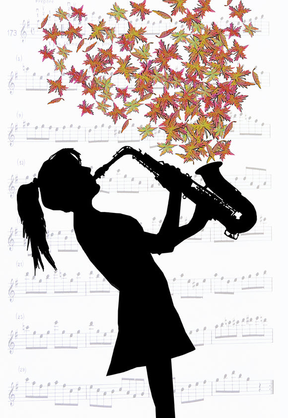 Print Leaves Saxaphone Girl