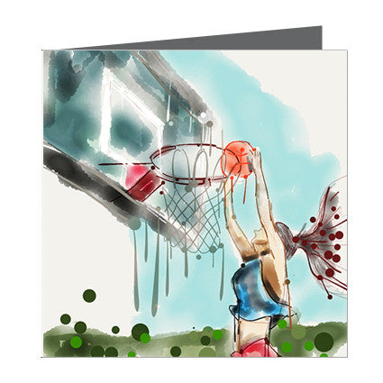 Card - Sports - Basket Ball Slam Dunk girl