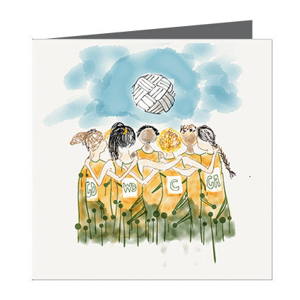 Card - Sports - Netball Girls Team Green and Yellow