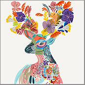 Small Cards (Pack of 10) - Stag with Blooms