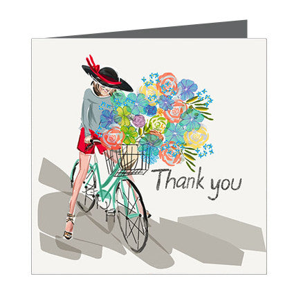 Card - Thanks a bunch Girl on a bike