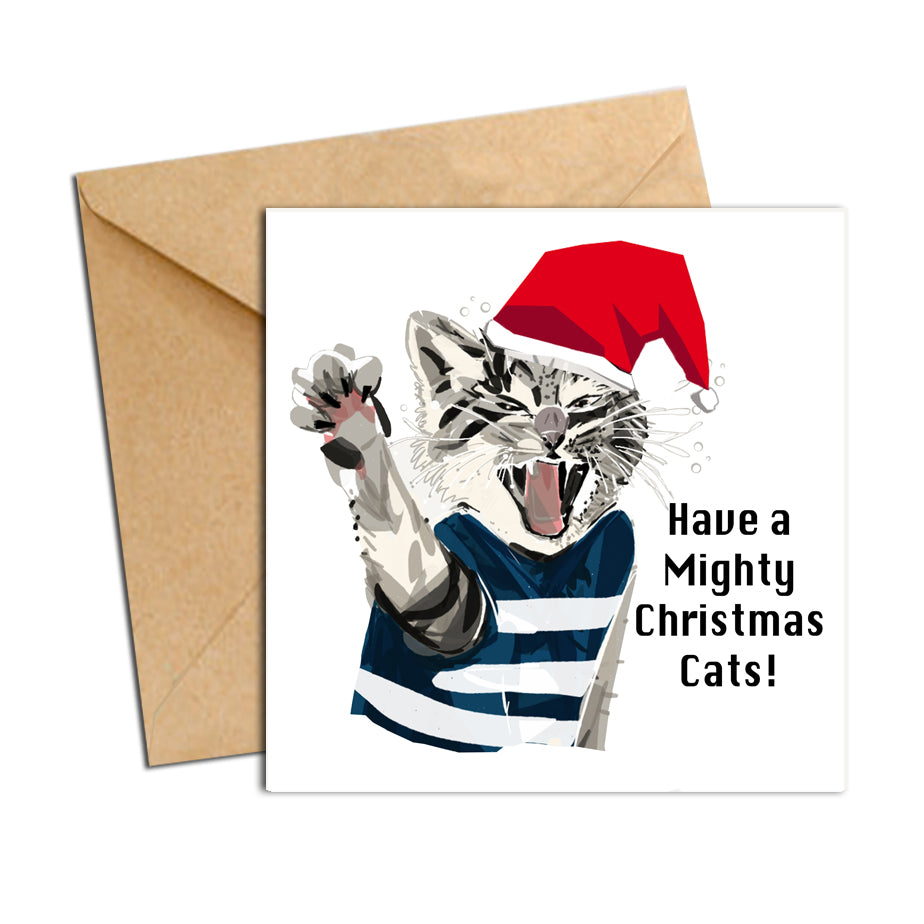 Card - Xmas Footy Cats Geelong