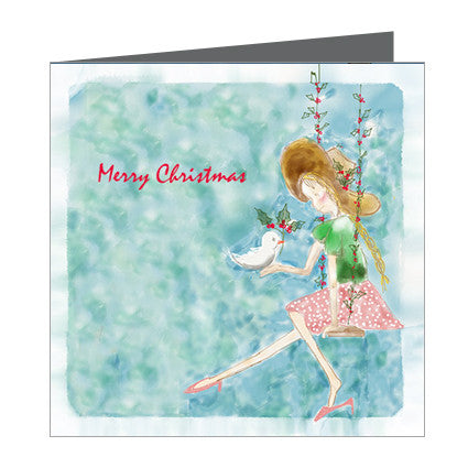 Card - Xmas Girl on swing