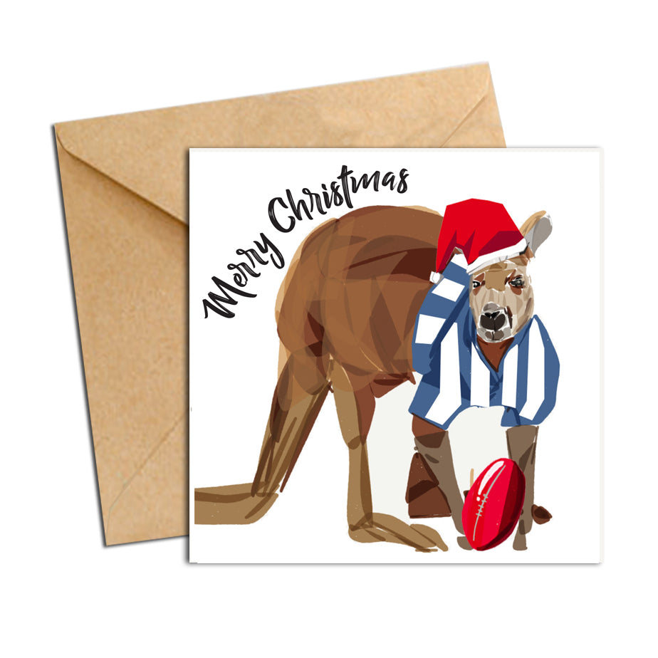 Card - Xmas Footy Kangaroo North Melbourne