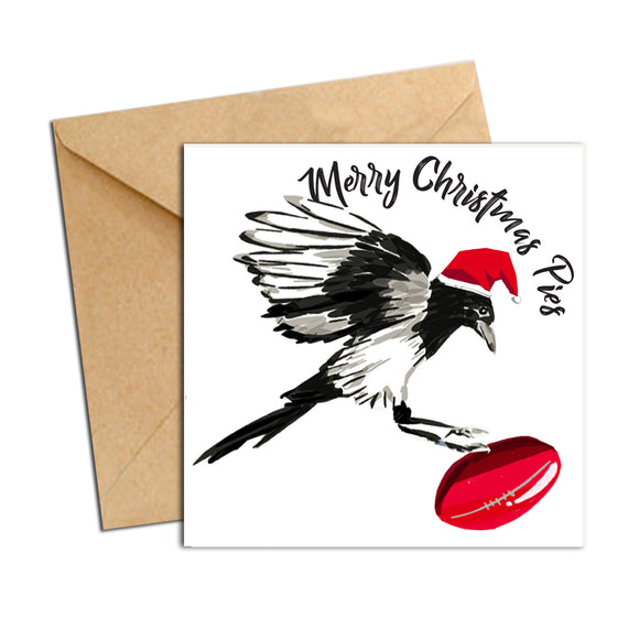 Card - Xmas Footy Pies Collingwood