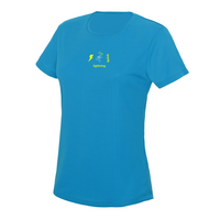 chucklr womens running t-shirt - lightning quick - blue