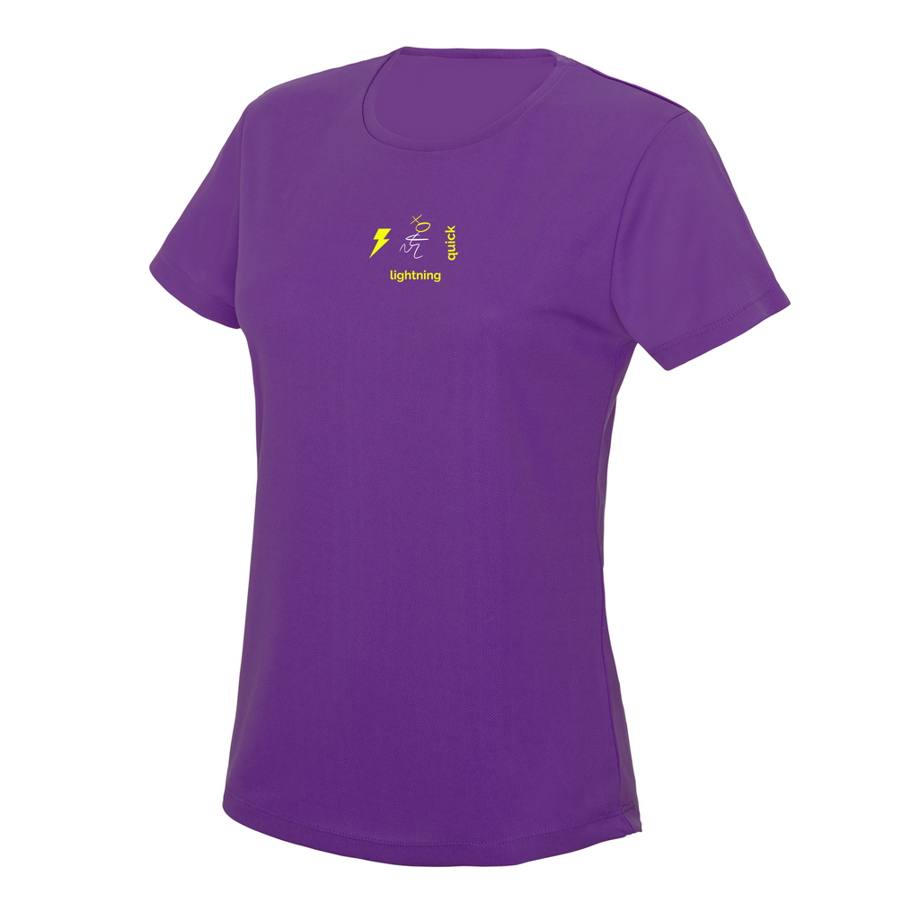 chucklr womens running t-shirt - lightning quick - magenta