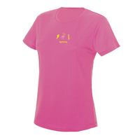 chucklr womens running t-shirt - lightning quick - pink
