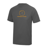 chucklr mens active t-shirt - running in circles - charcoal
