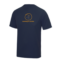 chucklr mens active t-shirt - running in circles - navy