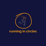 chucklr mens running t-shirt - running in circles - navy