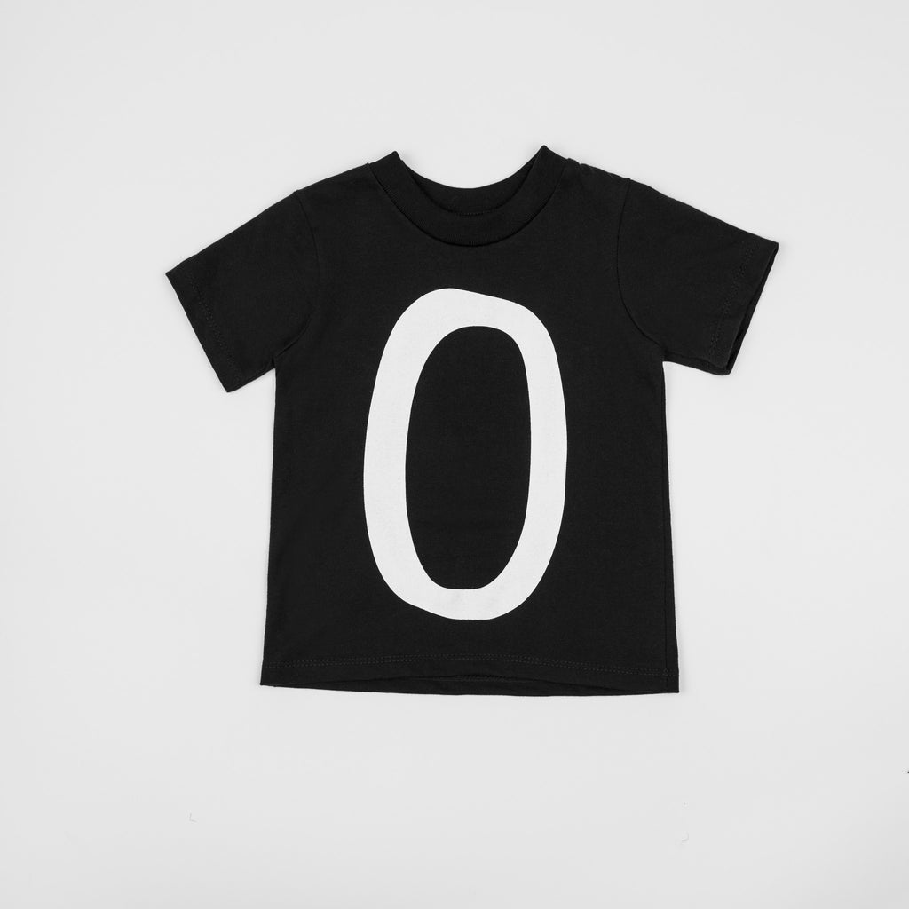 0 - black t-shirt with white print