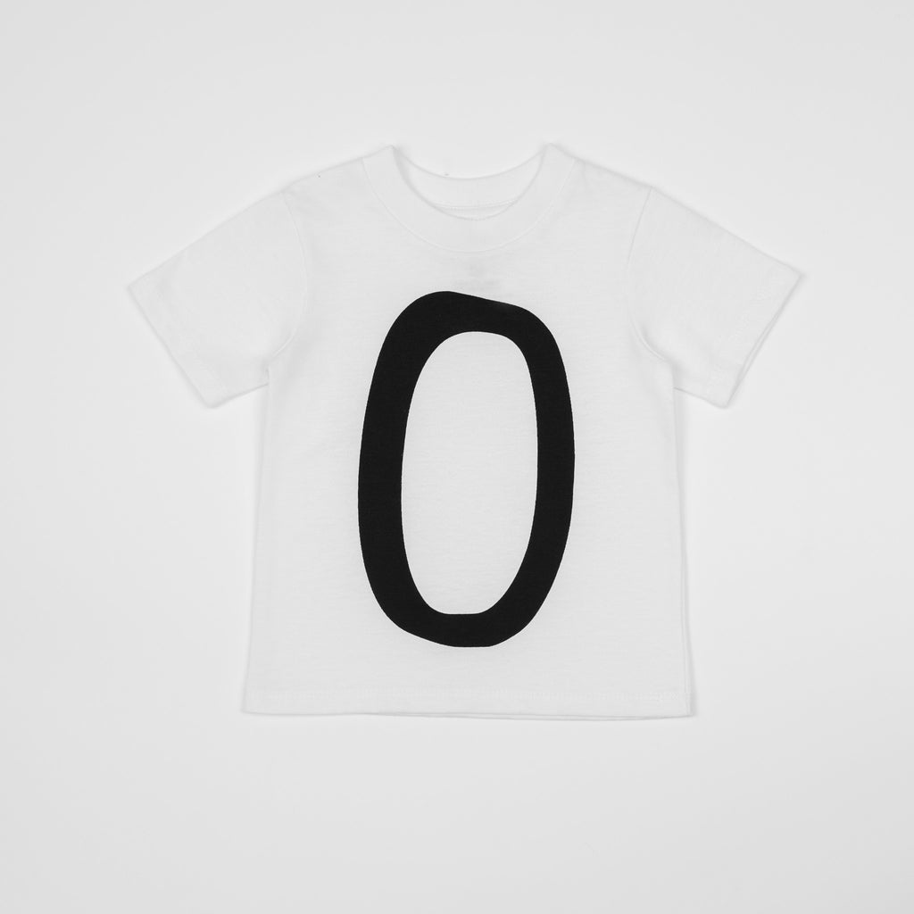 0 - white t-shirt with black print