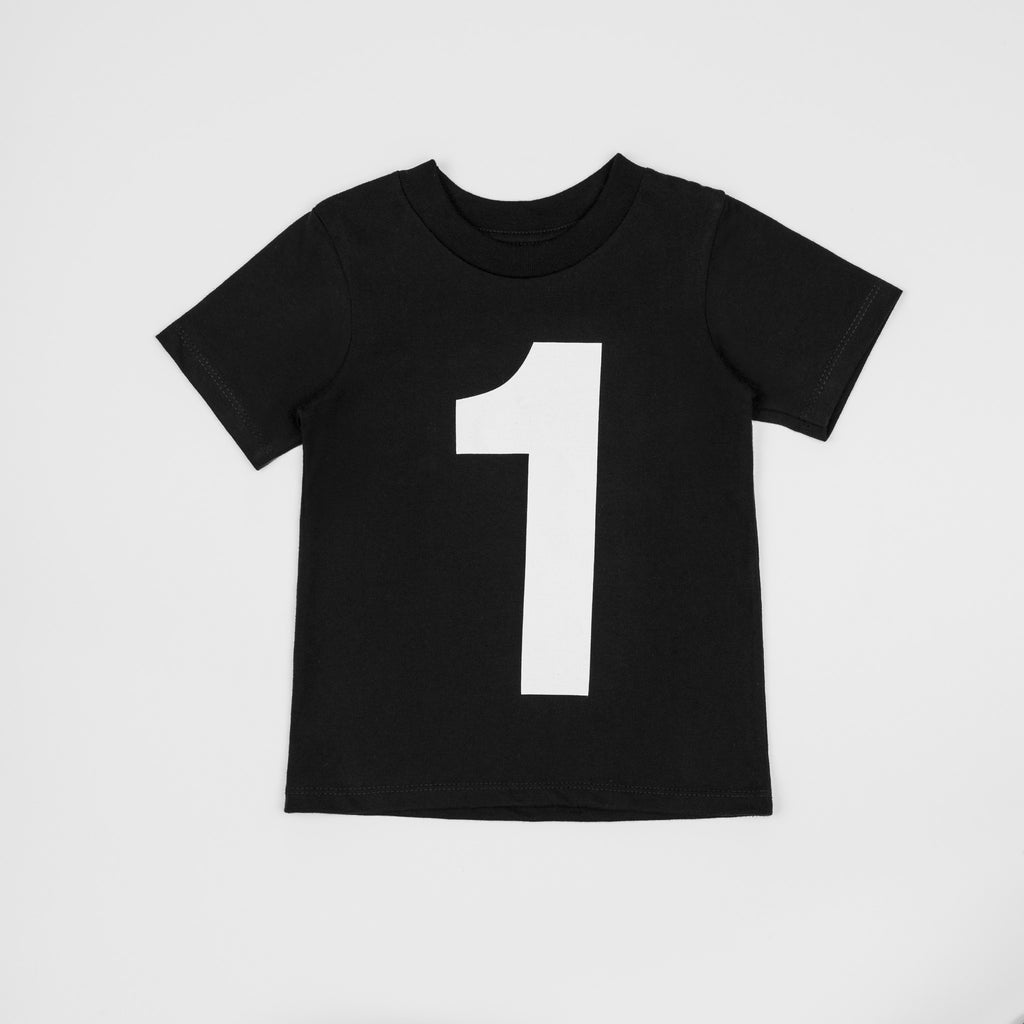 1 - black t-shirt with white print