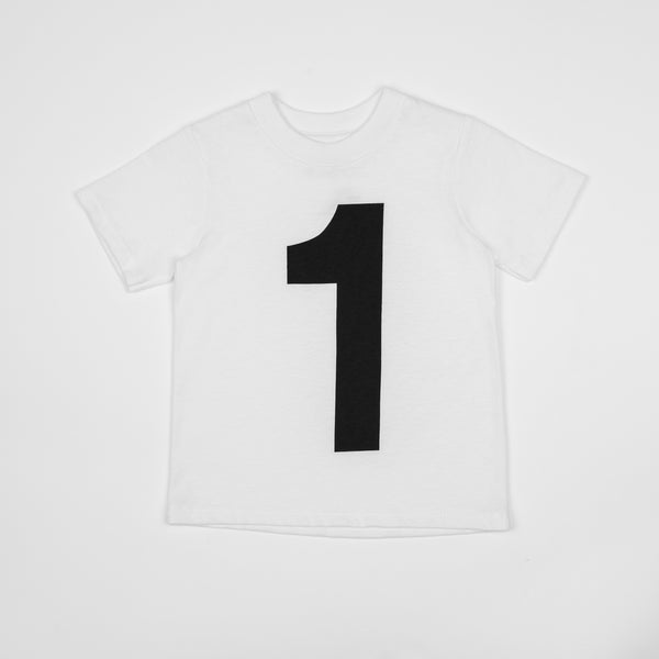 1 - white t-shirt with black print
