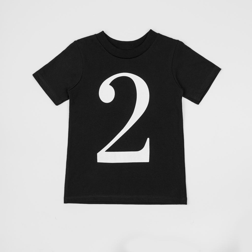 2 - black t-shirt with white print
