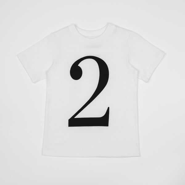 2 - white t-shirt with black print
