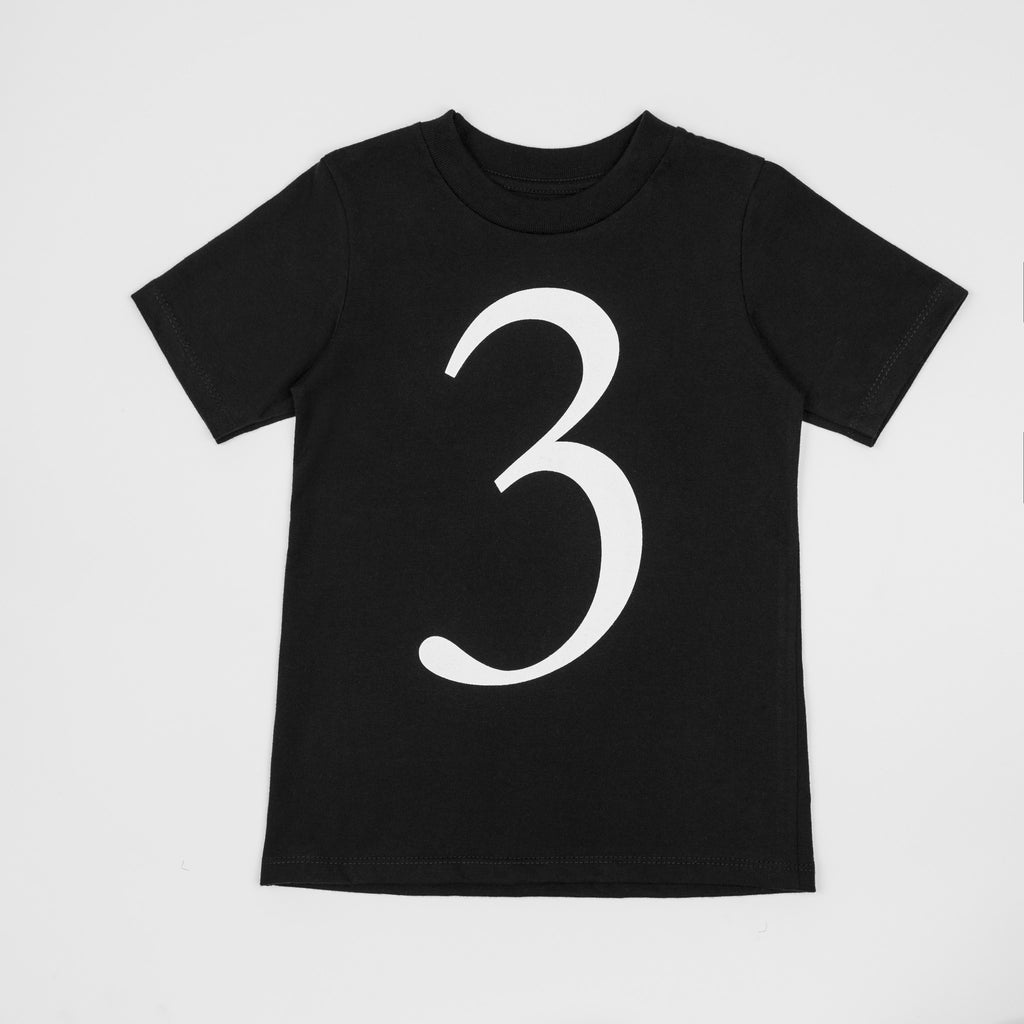 3 - black t-shirt with white print