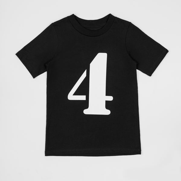 4 - black t-shirt with white print