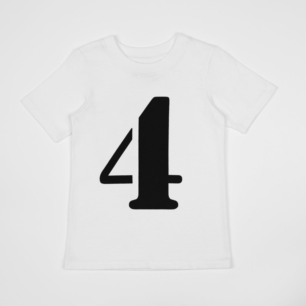 Number 4 printed black on white t-shirt
