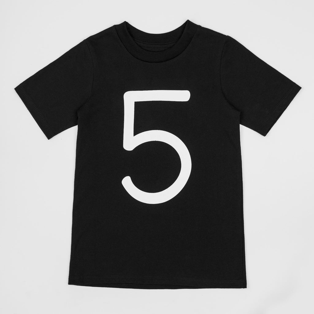 5 - black t-shirt with white print