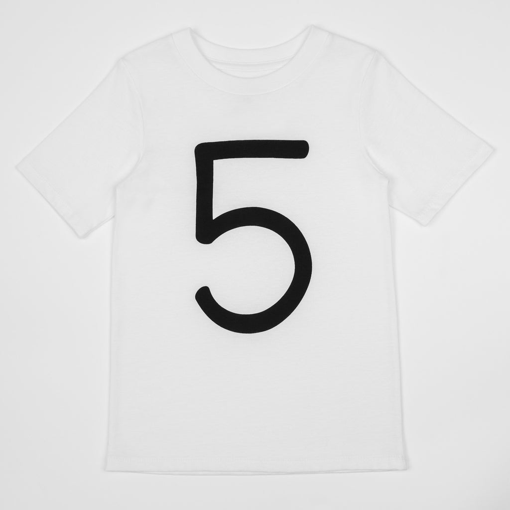 5 - white t-shirt with black print